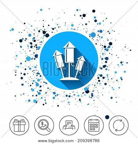 Button on circles background. Fireworks rockets sign icon. Explosive pyrotechnic device symbol. Calendar line icon. And more line signs. Random circles. Editable stroke. Vector