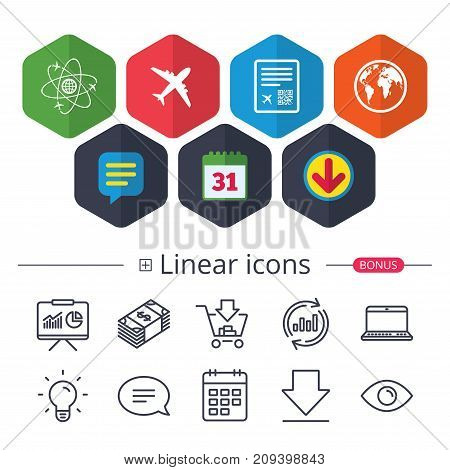 Calendar, Speech bubble and Download signs. Airplane icons. World globe symbol. Boarding pass flight sign. Airport ticket with QR code. Chat, Report graph line icons. More linear signs. Vector