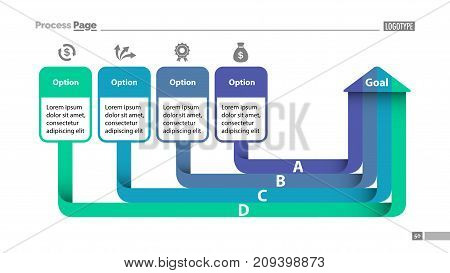 Four options diagram slide template. Business data. Creative concept for infographics, presentation, project, report. Can be used for topics like management, planning, startup.