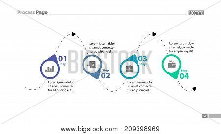 Four step process chart slide template. Business data. Diagram, chart, design. Creative concept for infographic s, report, template. Can be used for topics like management, strategy, workflow.