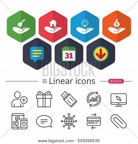 Calendar, Speech bubble and Download signs. Helping hands icons. Financial money savings insurance symbol. Home house or real estate and lamp, key signs. Chat, Report graph line icons. Vector