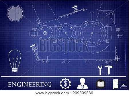 white drawing on a blue background, engineering