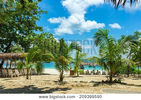 Paradise Island In Thailand, White Sand And Clear Water, Tropical Palm Trees