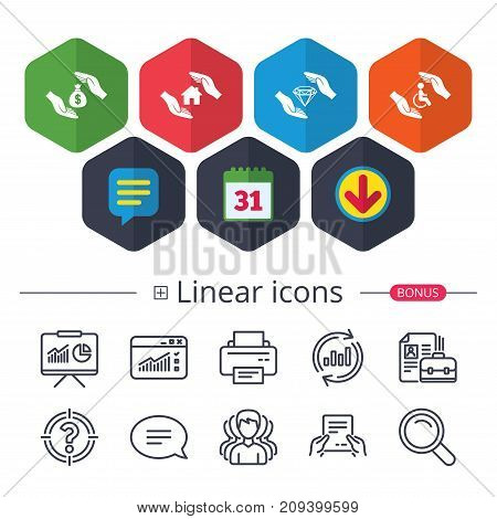 Calendar, Speech bubble and Download signs. Hands insurance icons. Money bag savings insurance symbols. Disabled human help symbol. House property insurance sign. Chat, Report graph line icons