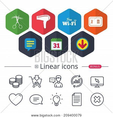 Calendar, Speech bubble and Download signs. Hotel services icons. Wi-fi, Hairdryer and deposit lock in room signs. Wireless Network. Hairdresser or barbershop symbol. Chat, Report graph line icons