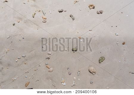 Texture of white sea sand with stones