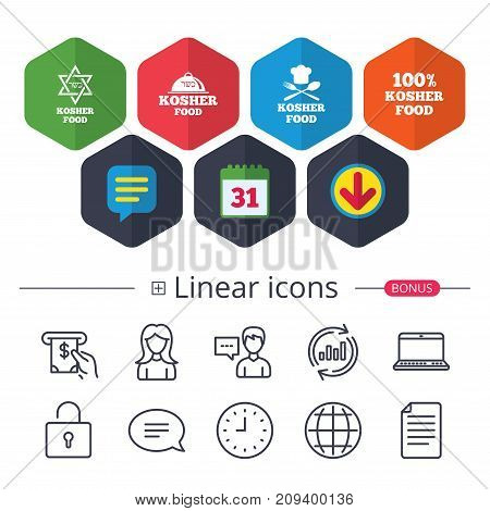 Calendar, Speech bubble and Download signs. Kosher food product icons. Chef hat with fork and spoon sign. Star of David. Natural food symbols. Chat, Report graph line icons. More linear signs. Vector