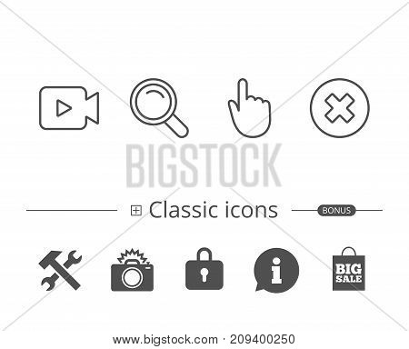 Video camera, Search and Hand cursor line icons. Delete button and Magnifying glass sign. Information speech bubble sign. And more signs. Editable stroke. Vector