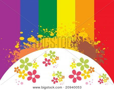 abstract grungy background with colorful blossoms poster