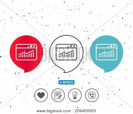 Speech bubbles with symbol. Website Traffic line icon. Report chart or Sales growth sign. Analysis and Statistics data symbol. Bonus with different classic signs. Random circles background. Vector