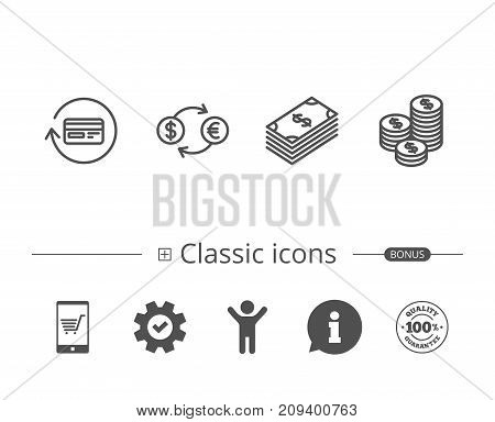 Money, Cash and Currency exchange line icons. Credit card, Banking and Coins signs. Euro and Dollar symbols. Information speech bubble sign. And more signs. Editable stroke. Vector