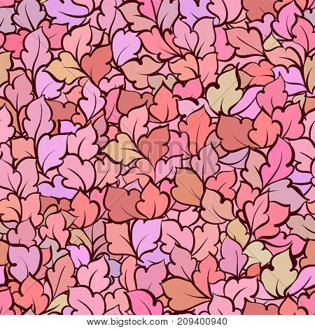 Floral Decorative Bright Background With Floral Leaves, Seamless Pattern