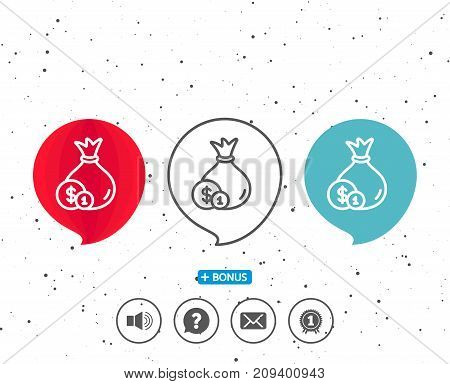 Speech bubbles with symbol. Money bag with Coins line icon. Cash Banking currency sign. Dollar or USD symbol. Bonus with different classic signs. Random circles background. Vector