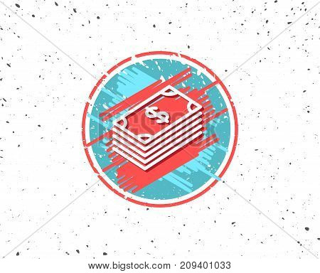 Grunge button with symbol. Cash money line icon. Banking currency sign. Dollar or USD symbol. Random background. Vector
