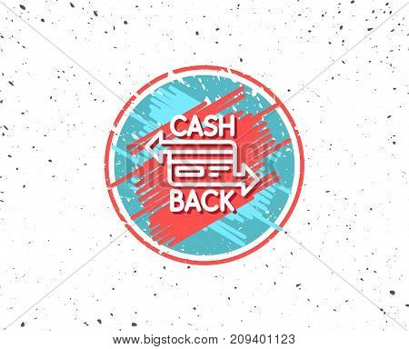 Grunge button with symbol. Credit card line icon. Banking Payment card sign. Cashback service symbol. Random background. Vector
