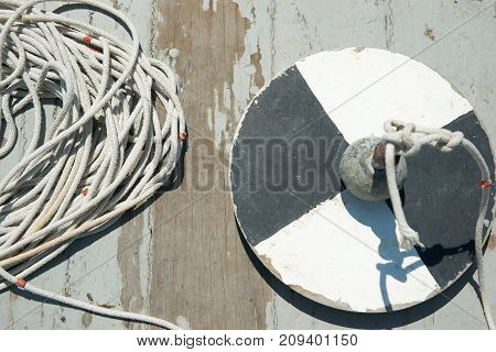 Secchi disk with rope on a wooden dock water transparency measurement.