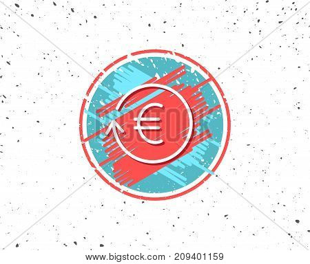 Grunge button with symbol. Euro Money exchange line icon. Banking currency sign. EUR Cash symbol. Random background. Vector