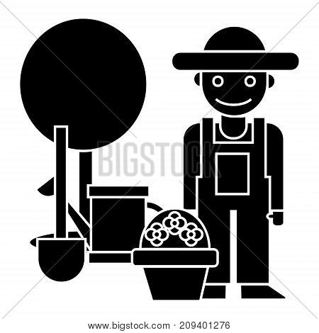 gardener - tree - shovel - watering can - bush icon, illustration, vector sign on isolated background
