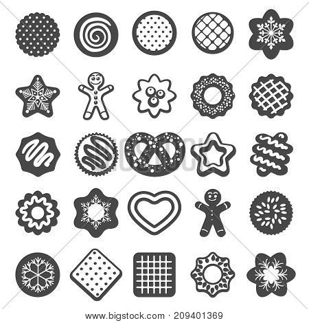 Christmas cookies icons. Cookies and xmas biscuits desserts bakery products vector set