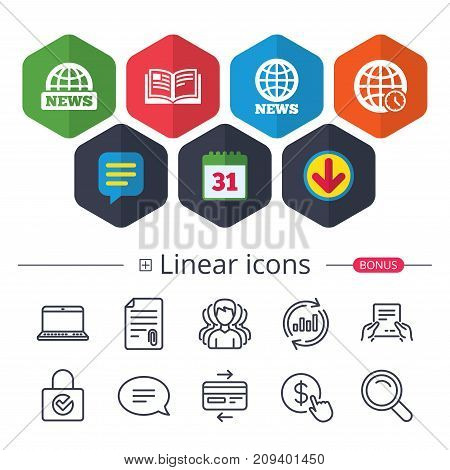 Calendar, Speech bubble and Download signs. News icons. World globe symbols. Open book sign. Education literature. Chat, Report graph line icons. More linear signs. Editable stroke. Vector