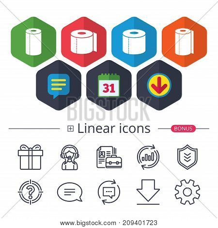 Calendar, Speech bubble and Download signs. Toilet paper icons. Kitchen roll towel symbols. WC paper signs. Chat, Report graph line icons. More linear signs. Editable stroke. Vector