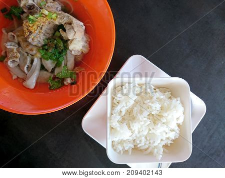 The Thai breakfast with rice and soup
