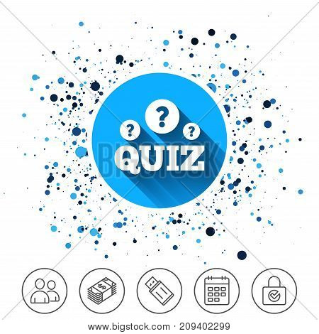 Button on circles background. Quiz with question marks sign icon. Questions and answers game symbol. Calendar line icon. And more line signs. Random circles. Editable stroke. Vector