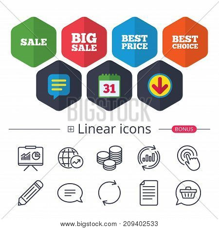 Calendar, Speech bubble and Download signs. Sale icons. Best choice and price symbols. Big sale shopping sign. Chat, Report graph line icons. More linear signs. Editable stroke. Vector