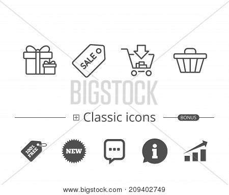 Shopping cart, Gift box and Sale Coupon line icons. Gifts, Presents and Sale offer signs. Information speech bubble sign. And more signs. Editable stroke. Vector