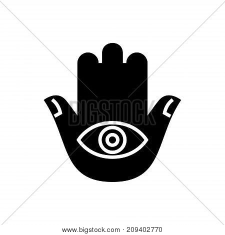 hamsa hand icon, illustration, vector sign on isolated background