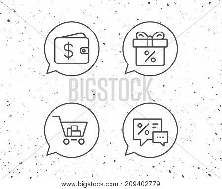 Speech bubbles with signs. Gift box, Discount and Sale line icons. Shopping cart symbol. Online buying. Grunge background. Editable stroke. Vector