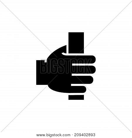 hand holding icon, illustration, vector sign on isolated background
