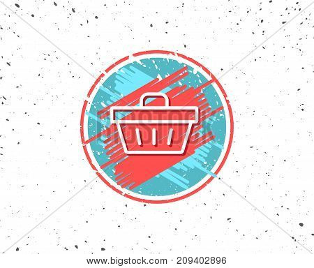 Grunge button with symbol. Shopping cart line icon. Online buying sign. Supermarket basket symbol. Random background. Vector