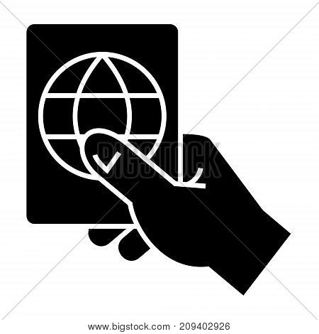 hand holding passport icon, illustration, vector sign on isolated background