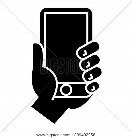 hand holding phone icon, illustration, vector sign on isolated background