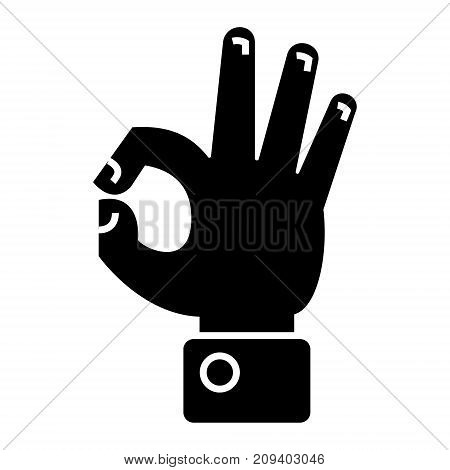 hand ok icon, illustration, vector sign on isolated background