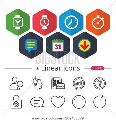 Calendar, Speech bubble and Download signs. Smart watch wi-fi icons. Mechanical clock time, Stopwatch timer symbols. Wrist digital watch sign. Chat, Report graph line icons. More linear signs. Vector