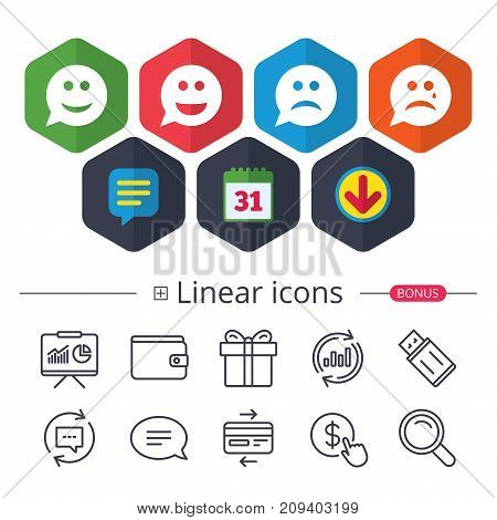 Calendar, Speech bubble and Download signs. Speech bubble smile face icons. Happy, sad, cry signs. Happy smiley chat symbol. Sadness depression and crying signs. Chat, Report graph line icons. Vector
