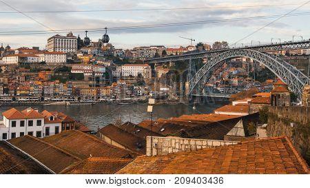 Roofs Vila Nova de Gaia, the Douro river,