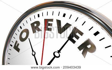 Forever Clock Time Eternity Always Open Eternal 3d Illustration