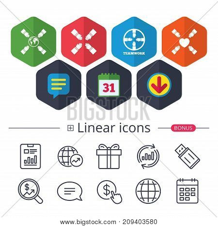 Calendar, Speech bubble and Download signs. Teamwork icons. Helping Hands with globe and heart symbols. Group of employees working together. Chat, Report graph line icons. More linear signs. Vector