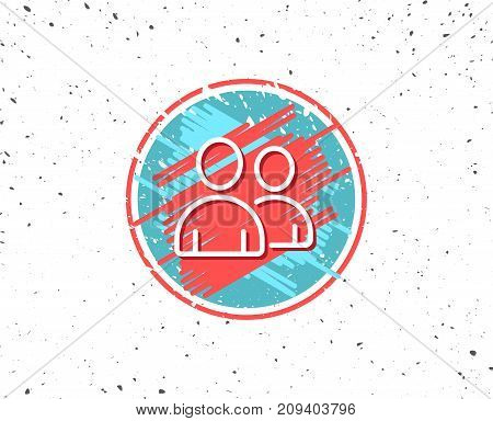 Grunge button with symbol. User line icon. Couple or Group sign. Person silhouette symbol. Random background. Vector