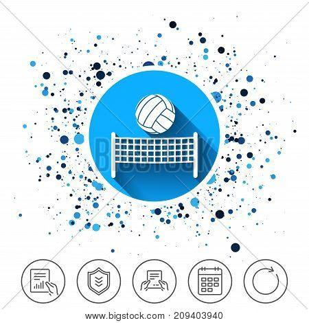Button on circles background. Volleyball net with ball sign icon. Beach sport symbol. Calendar line icon. And more line signs. Random circles. Editable stroke. Vector