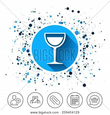 Button on circles background. Wine glass sign icon. Alcohol drink symbol. Calendar line icon. And more line signs. Random circles. Editable stroke. Vector