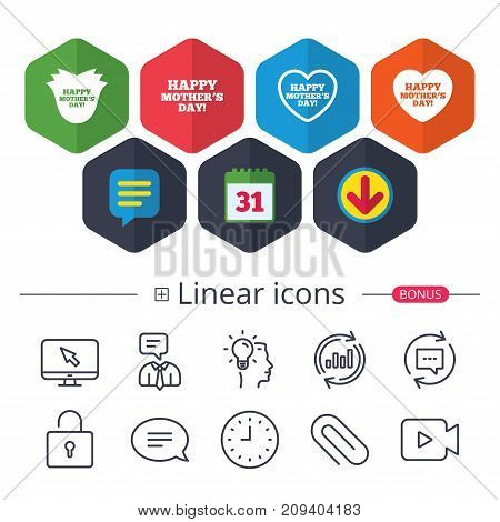 Calendar, Speech bubble and Download signs. Happy Mothers's Day icons. Mom love heart symbols. Flower rose sign. Chat, Report graph line icons. More linear signs. Editable stroke. Vector