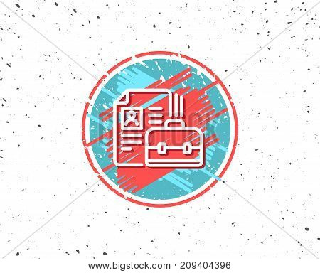 Grunge button with symbol. Business case with CV line icon. Portfolio symbol. Vacancy or Hiring sign. Random background. Vector