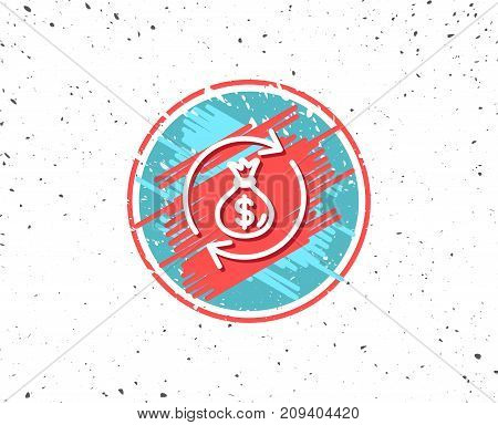 Grunge button with symbol. Cash exchange line icon. Dollar money bag symbol. Money transfer sign. Random background. Vector