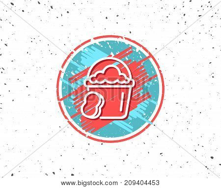 Grunge button with symbol. Cleaning bucket with sponge line icon. Washing Housekeeping equipment sign. Random background. Vector