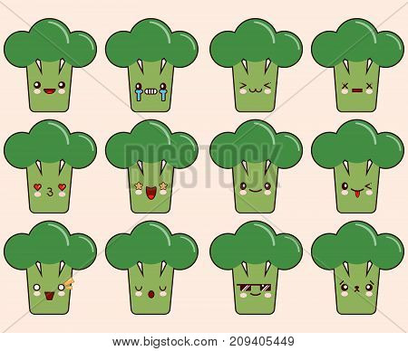 Set of kawaii broccoli emoticons. Isolated on light pink background. Flat design Vector Illustration EPS