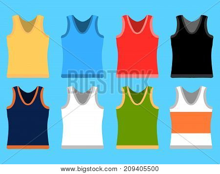 Tank Top set simple icons. Yellow, red, blue, white pullovers isolated on blue background. Flat design Vector Illustration eps10